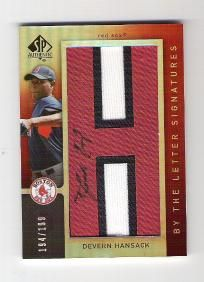 Devern Hansack 2007 SP Authentic By The Letter Autograph  #194/199 - Boston Red Sox - Free shipping
