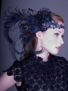 Licorice Nymph Peacock Feather Flapper Headband : Accessories : Deanna DiBene Millinery