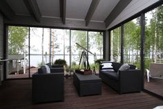 A terrace with opening glass walls and an open patio would be the best combination.