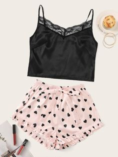 Shop for Lace Trim Satin Cami & Heart Print Shorts PJ Set by Shein at ShopStyle. Cute Pajama Sets, Cute Pjs, Cute Pajamas, Pj Sets, Pajamas Women, Cute Lazy Outfits, Summer Outfits, Girl Outfits, Casual Outfits