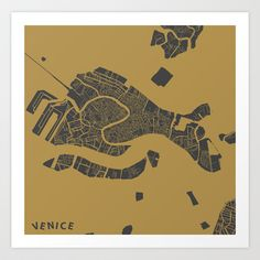 Venice map Art Print by Map Map Maps - $18.00---------------------------If you like my work, you can folllow my Facebook account : https://www.facebook.com/MapMapMaps