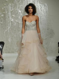 Watters Fall 2016 champagne A-line wedding dress with crystal beaded bodice and ruffled skirt   https://www.theknot.com/content/watters-wedding-dresses-bridal-fashion-week-fall-2016