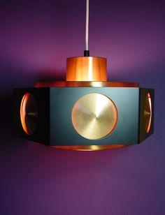 Vtg. DANISH MODERN Pendant Light Lamp Copper/Black Mid-Century Eames