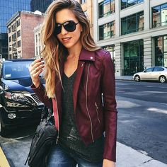 From guess - Biker babe @nicholeciotti in our faux-leather moto jacket  #LoveGUESS