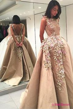 Elegant Bateau Backless Floor-Length Appliques Champagne Prom Dress with Lace Top PD20187086