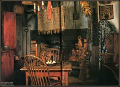 Great Rustic Primitive Dining~Keeping Room....Rug Hooked Rug
