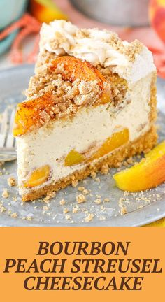 This Bourbon Peach Streusel Cheesecake is so full of flavor and perfect for summer! The combination of peaches, bourbon, brown sugar and cinnamon is insanely delicious!
