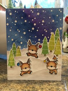Mama Elephant Reindeer Games, Lawn Fawn Stitched Hillside Border die and trees from Lawn Fawn Toboggan Together