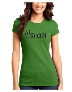 TooLoud Cancun Mexico - Script Text Juniors T-Shirt