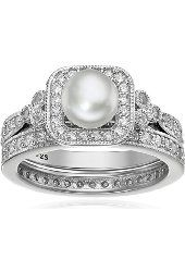 Platinum Plated Sterling Silver Cubic Zirconia Freshwater Cultured Pearl Antique Two Piece Set Ring