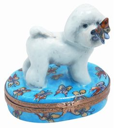 Limoges.com - Online Shopping for Genuine Limoges Porcelain Boxes Imported From France - Bichon Frise Genuine Limoges Box