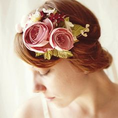 Gorgeous handmade flower headband, magenta pink bridal fascinator, bridal hair crown, floral wedding accessory - CAROUSEL by whichgoose, $88.00.