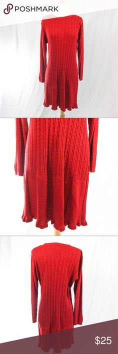 """Candy Apple Red Sweater Dress from Coldwater Creek In preowned, excellent condition. No flaws. 100% Acrylic. Hand wash or dry clean. The Classic cableknit weave is medium weight and has some stretch. Skirt detail is really pretty.  Bust (pit to pit): 22"""" Waist: 18"""" Sleeve: 22"""" Length: 35"""" Coldwater Creek Dresses"""