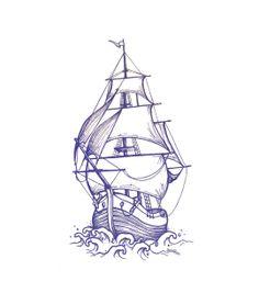 Traditional Ship Tattoo Design | Ruslan Shutak