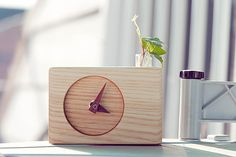Oh so sweet!   Handmade and available on Etsy at   http://www.etsy.com/listing/91784873/hand-made-ash-wood-clock-desk-clock?ref=fp_treasury_7