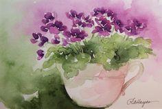 Purple African Violets in Teacup