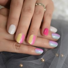 Small Short Children Rainbow Faux Nails – Fake Nail Store Nail Store, Nail Length, Round Nails, Sparkle Nails, Nail Set, Nail Tips, Rainbow, This Or That Questions, Children