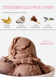 healthy ice cream Plant based meal prep plans that feature whole foods, oil free ingredients and vegan recipes. Only cook twice a week, eat more plants and feel amazing. Healthy Vegan Breakfast, Healthy Vegan Desserts, Healthy Ice Cream, Vegan Ice Cream, Vegan Sweets, Vegan Recipes, Healthy Drinks, Paleo, Bon Dessert