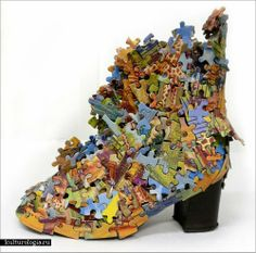 Start saving puzzle pieces and glue them to a pair of shoes and make a million. Puzzle Crafts, Puzzle Art, Recycled Art Projects, Glass Shoes, Shoe Crafts, Decorated Shoes, Shoe Art, Art Shoes, Recycled Fashion