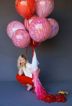 Red Marble Balloon with Velvet Ribbon