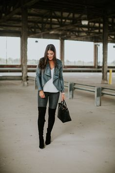 faux leather drape jacket, over the knee boots, winter style // grace wainwright Winter Date Night Outfits, Casual Fall Outfits, New Outfits, Holiday Fashion, Holiday Style, Winter Fashion, Winter Style, Grey Skinny Jeans, Fashion Couple