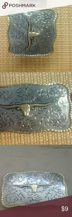 Belt buckle with size 34 brown belt Long horn belt buckle, silver & gold. Belt size 34 made in mexico Accessories Belts