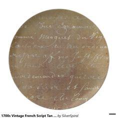 1700s Vintage French Script Tan Parchment Paper Dinner Plate