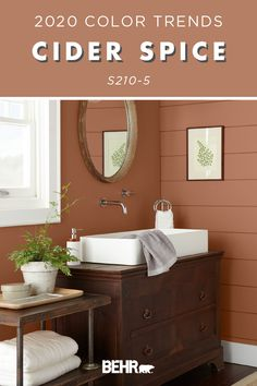 Snuggle up to the warm and cozy hue of BEHR® Paint in Cider Spice from the 2020 Color Trends Palette Bathroom Paint Colors Behr, Rustic Paint Colors, Paint Colors For Living Room, Bathroom Trends, Small Bathroom Decor, Bathroom Paint Colors, Painting Bathroom, Warm Paint Colors, Brown Paint Colors