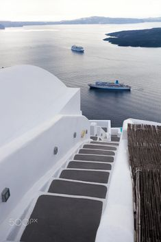 Santorini island with stairs against ship in Greece by Tomas Marek on Santorini Island Greece, Sun Lounger, Surfboard, Stairs, Ship, Outdoor Decor, Photography, Decoration, Creative