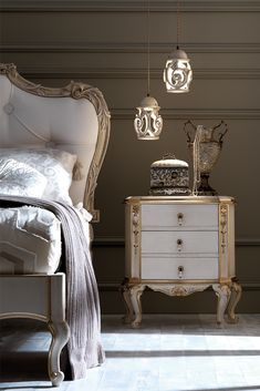 A beautiful addition to any bedroom. Italian Rococo Bedside Cabinet with 3 drawers and beautiful handle fittings with tear drop ceramic pulls. Luxury Bedroom Furniture, Bed Furniture, Furniture Design, Bedroom Decor, Master Bedroom, Bedside Cabinet, Bedroom Styles, Luxurious Bedrooms, Beautiful Bedrooms