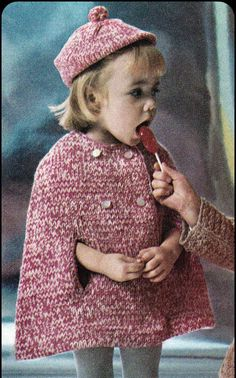Vintage knitting pattern PDF to make a childs cape and beret in stockinette stitch. Features rolled edges in reverse stockinette stitch at neck and Crochet Beret, Crochet Fall, Diy Crochet, Vintage Knitting, Baby Knitting, Poncho Cape, Knitting Patterns, Crochet Patterns, Capes For Kids