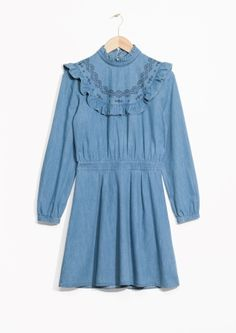 & Other Stories image 2 of Frill Denim Dress in Blue