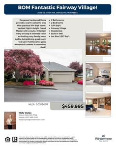 Back On Market! Real Estate for Sale: $459,995-2 Bd/2 Ba Fantastic One Level Fairway Village Ranch Style Home on .12 Acre Lot at: 3015 SE 155th Ave, Vancouver, Clark County, WA! Area 24. Listing Broker: Molly Voyles (360) 689-2230, Windermere Stellar, Vancouver, WA! #RealEstate #BOM #VancouverRealEstate #FairwayVillageRealEstate #CascadeParkRealEstate #OneLevelRealEstate #TwoBedroomRealEstate #TwoCarGarage #MountainViewHighSchool #MollyVoyle #WindermereStellar