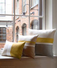 Mustard Yellow & Gray Chambray Gestreepte colorblock Pillow Cover Set van 3 - Moderne Decor van het Huis door JillianReneDecor
