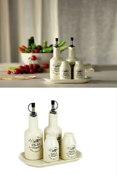 Tognana Sweet Campania Home Oil/Vinegar/Salt/Pepper Set, White - made of ceramic and porcelain Inspired by your grandmother's old tin glazed containers enhancing and simplifying your kitchen today. Dishwasher safe, microwave safe, oven safe, freezer safe