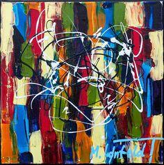 30x30 cm - Art by Lønfeldt - original abstract painting, modern textured art, colorful