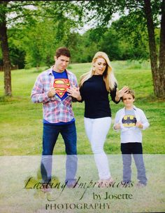 Engagement picture fun with my son who adores his soon to be step-dad! All my sons idea, his superhero he looks up to :)