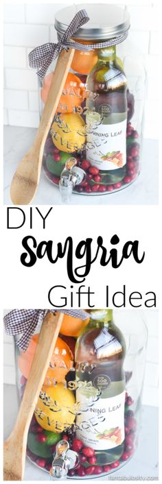 Aw, how cool is this! DIY Gift Idea: Sangria for Friends, housewarming, for women, new neighbor, anyone! Who wouldnt love this!? They can even use the drink dispenser again and again!