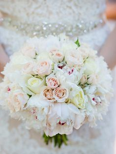 White bouquet with peonies and roses