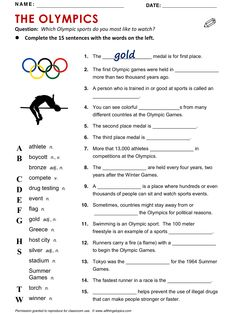 Olympics - All Things Topics Sport English, English Tips, English Lessons, Learn English, English Grammar Worksheets, English Vocabulary, Teaching English Grammar, English Activities, Vocabulary Activities