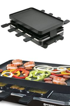 8 Person Raclette Party Grill (Black): Classic Design. Reversible, Cast Aluminum Grill Plate With Non-Stick Surface.