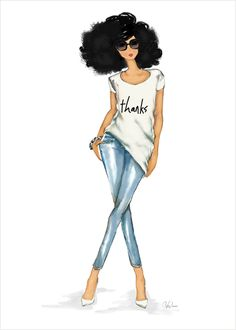 Thanks Tee Design - Multicultural | African American Art | African American Cards | Thank You Cards | Beautiful fashion greeting cards from Stay Lifted. #StayLiftedCards