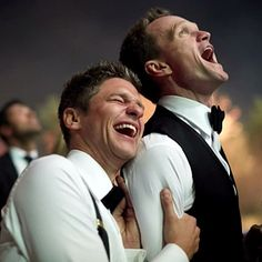 Neil Patrick Harris & David Burtka Share Photos From Their Wedding!: Photo Neil Patrick Harris appeared on The Late Show with David Letterman where he treated viewers to a few pics of his wedding to David Burtka! David Burtka, David Boreanaz, Joan Collins, Poppy Delevingne, Kelly Clarkson, Bridal Musings, Monique Lhuillier, Neil Patrick Harris Wedding, Celebrity Couples