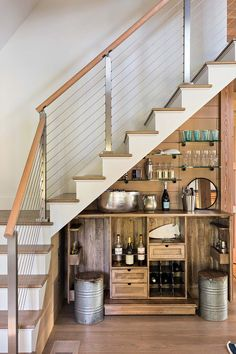 15 Distinguished Rustic Home Bar Designs For When You Really Need That Drink Best Modern House Design, Stairs Design, Home, Mini Bar, Rustic House, Bars For Home, Bar Under Stairs, House Interior, Home Bar Designs