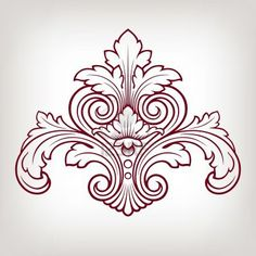 vintage Baroque damask  design frame pattern element engraving retro style Stock Photo