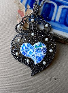 Portugal Antique Azulejo Tile Replica Blue Heart of Minho by Atrio