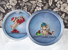 Mock Shaker Cards for Stamptember - Lawn Fawn, Happy Howlidays