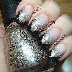 black, gold glitter, & silver glitter french manicure #nails