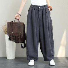 Vintage Linen Casual Pants For Women Loose Trousers Linen Pants Women, Wide Leg Linen Pants, Linen Trousers, Pants For Women, Green Khaki Pants, Fall Pants, Loose Pants, Women's Pants, Harem Pants