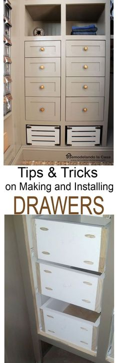 Making and installing drawers with rolling drawer slides. T